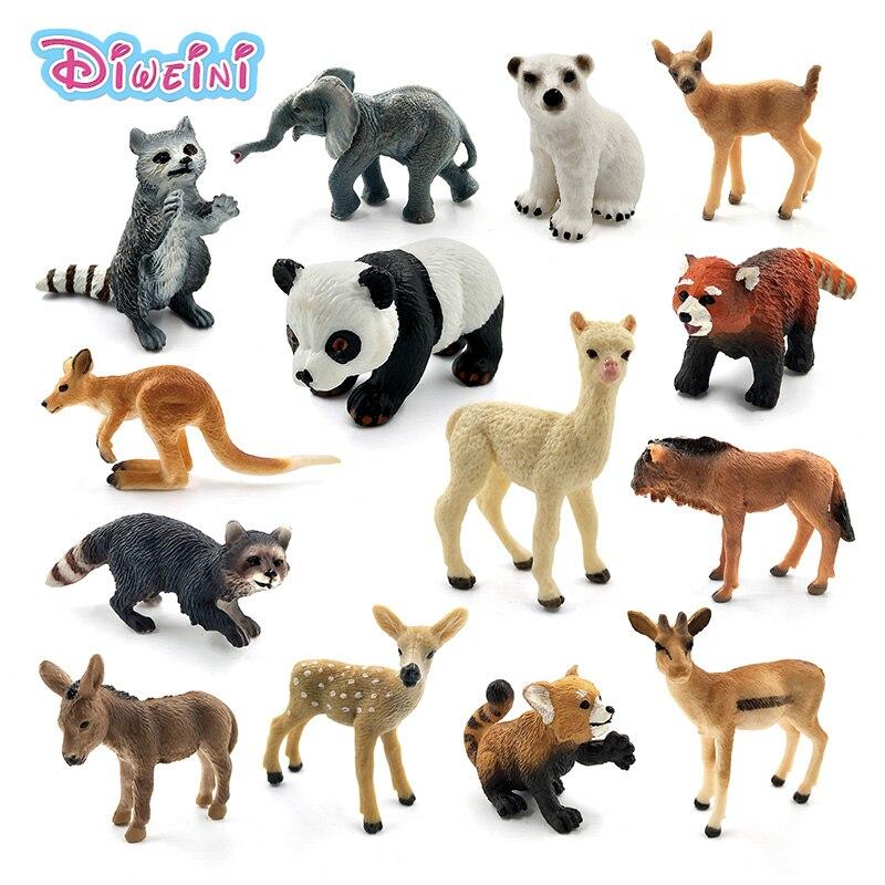 Имитация леса, дикая панда, слоник, енот, кенгуру, альпака, олень, медвежонок, осел, Wildebeest, пластиковые животные, мини-фигурки, модель игрушек