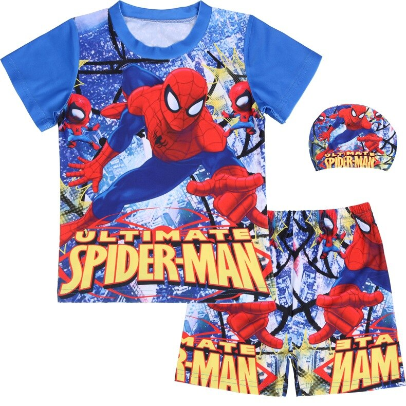 Neue sommer Baby Jungen Schwimmen T-shirt shorts kappe set Kinder jungen spiderman shorts superman kleidung badeanzug Kinder badehose