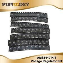 70 pièces AMS1117 Kit régulateur de tension 1.2V/1.5V/1.8V/2.5V/3.3V/5.0V/ADJ 1117 SOT-223 7 valeurs chacune 10 pièces