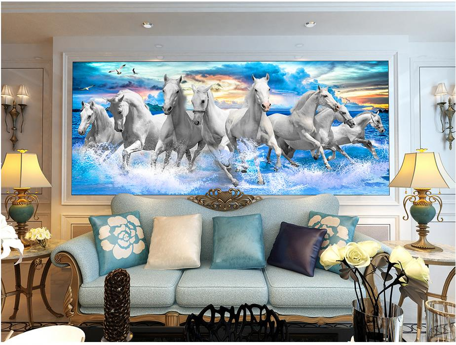 Papel pintado 3d personalizado decoración del hogar caballo paisaje de olas del mar pintura papel pintado de habitación moderno