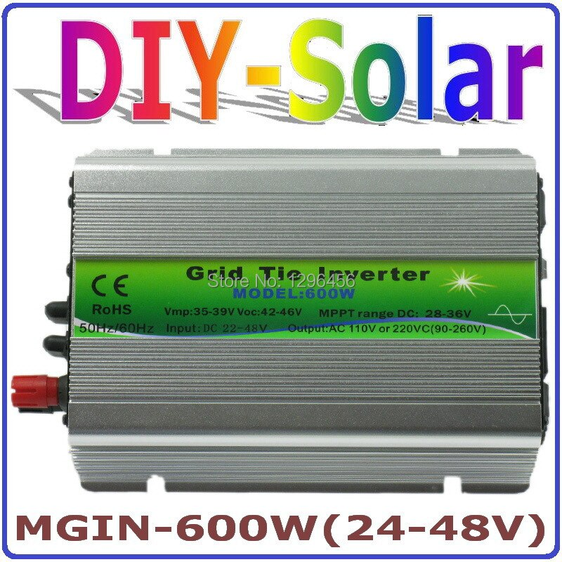 Sistema solar 600W inversor de conexión de red 600W en inversor de red, entrada de inversor de energía Solar DC24V 48 48V salida AC90V ~ 260V voltaje completo