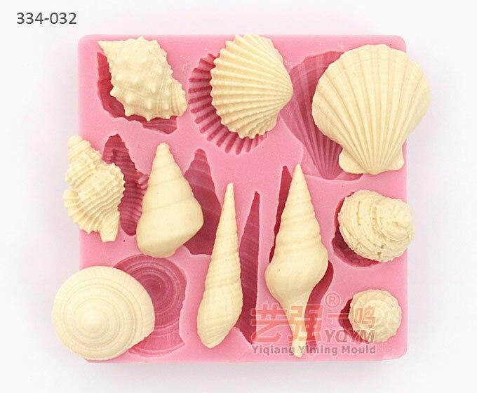 2014 Yiqiang molde nueva llegada envío gratis Rusia shell silicona molde pastel decoración herramientas forma de silicona fondant moldes