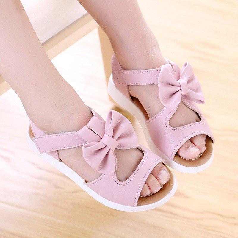 Sandalias de verano antideslizantes con agujeros para lazada de Princesa, sandalias de playa para niños, zapatos de bebé YH-17