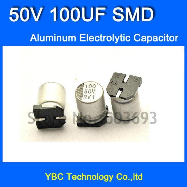 Free Shipping 100pcs/lot 50V100UF SMD Aluminum Electrolytic Capacitor 8*10.2MM