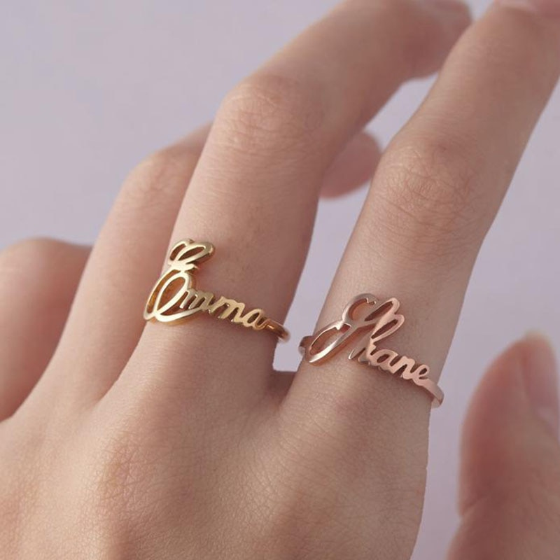 Custom Name Ring Special Font Rings Personalized Gold Stainless Steel Jewerly Adjustable Bague Wedding Rings For Women Jewelry custom name high quality stainless steel wholesale simple ring fashion gold rings jewelry for women s exclusive wedding ring