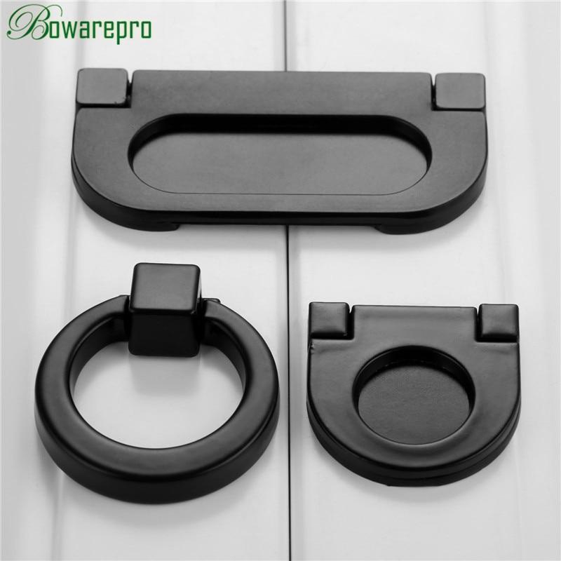 Bowarepro asas negras sólidas asas para cajón de armario perillas anulares tirador de puerta de armario de un solo orificio estilo de Hardware de muebles 1 ud.