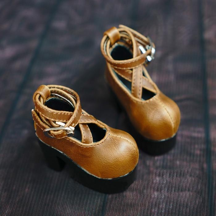D01-P145 children handmade toy 1/3 1/4 Doll Accessories BJD/SD doll shoes brown Cross buckle high heels 1pair