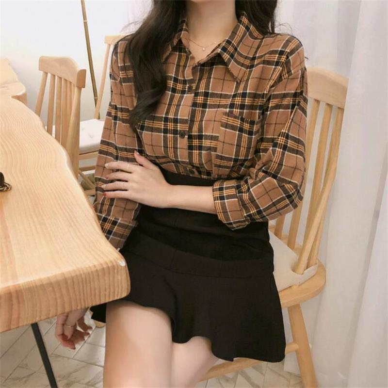 Camisa de manga larga de estilo universitario para otoño, camisas para mujer Ulzzang, ropa femenina Kawaii japonesa Harajuku para mujeres