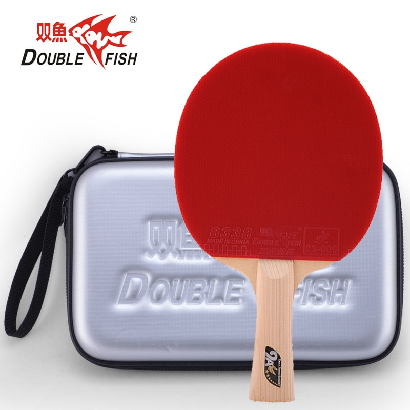 Double fish 9AC 7 PLY carbon fiber table tennis racket paddle loop fast attack offensive horizontal grip with PU hard case bag
