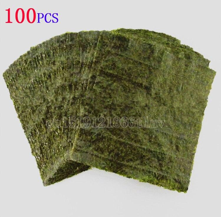 100 шт набор Высокое качество суши нори морские водоросли, морские водоросли для суши закуски, зеленая еда морские водоросли Нори Суши сушены...