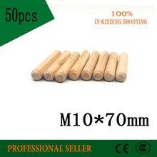 Tiroirs de meuble M10 * 70 50 pièces   Goupilles de cheville rondes en bois artisanal cannelé tiges de cheville en bois pour raccord de meubles épingles de cheville en bois