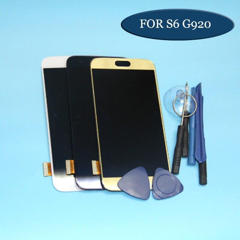1 قطعة لسامسونج غالاكسي S6 G920 G920F LCD عرض تعمل باللمس محول الأرقام الجمعية الأزرق الأبيض الذهب