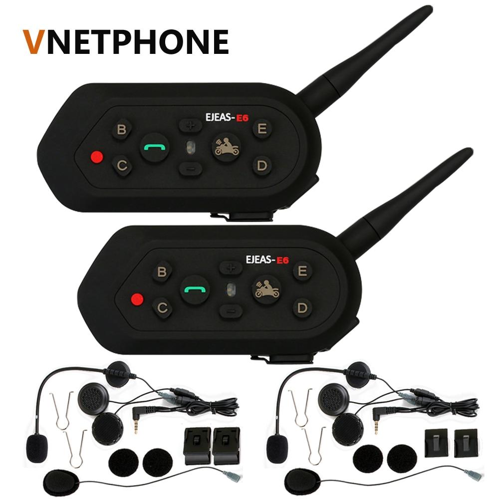 2018 vnetphone 2 pçs e6 pro capacete da motocicleta fone de ouvido bluetooth interfone 6 pilotos 1200 m intercomunicador sem fio bt interfone