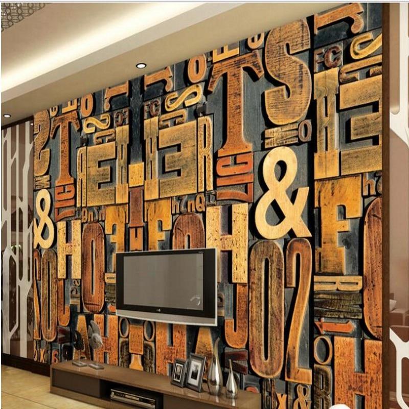 Mural de gran escala personalizado wellyu grabado en madera letra inglesa 3D monopoly escaparate TV sofá telón de fondo no tejido papel tapiz