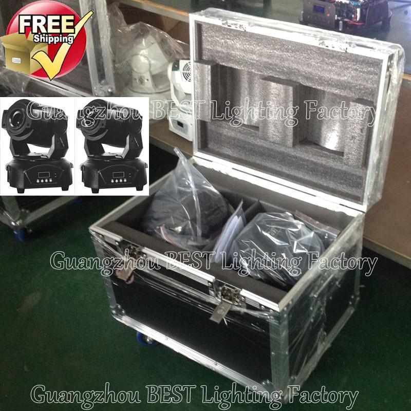 2 uds/lote envío gratis dual flight case luz con cabezal móvil 2 uds 90w spot led cabezal móvil escenario dj movinghead light