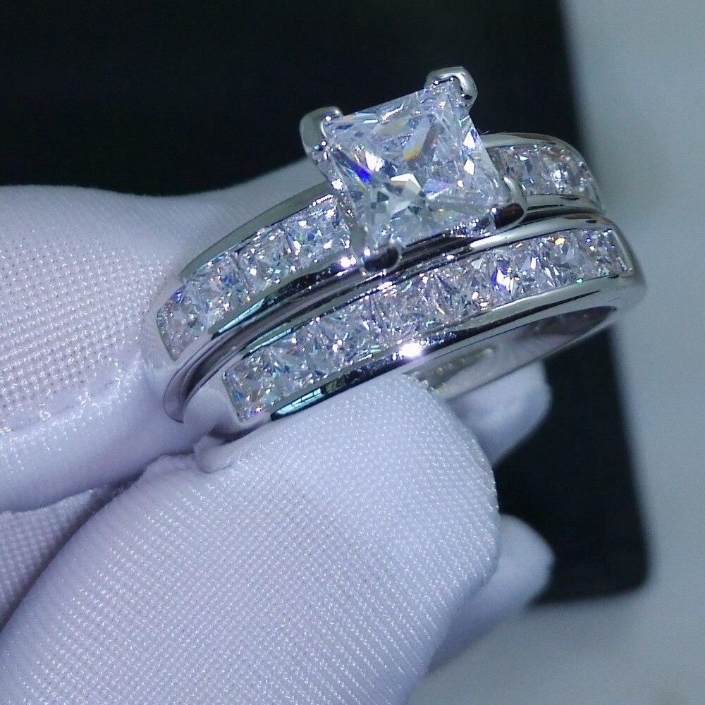 Choucong Valueable Princesa Cut Stone 5A Zircon pedra Branca 10KT GOLD Filled Anel de Casamento Set Sz 5-11 Grátis grátis