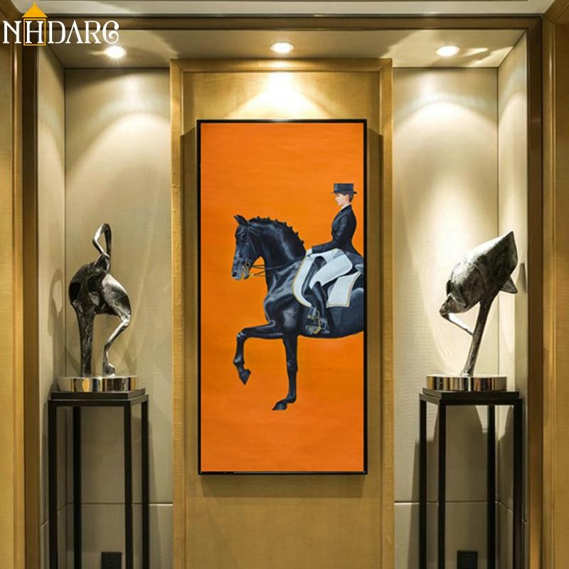 Классический Современный оранжевый холст для гонок, принт, постер, крутая стена, искусство, настенные картины для прихожей, большой размер, ...