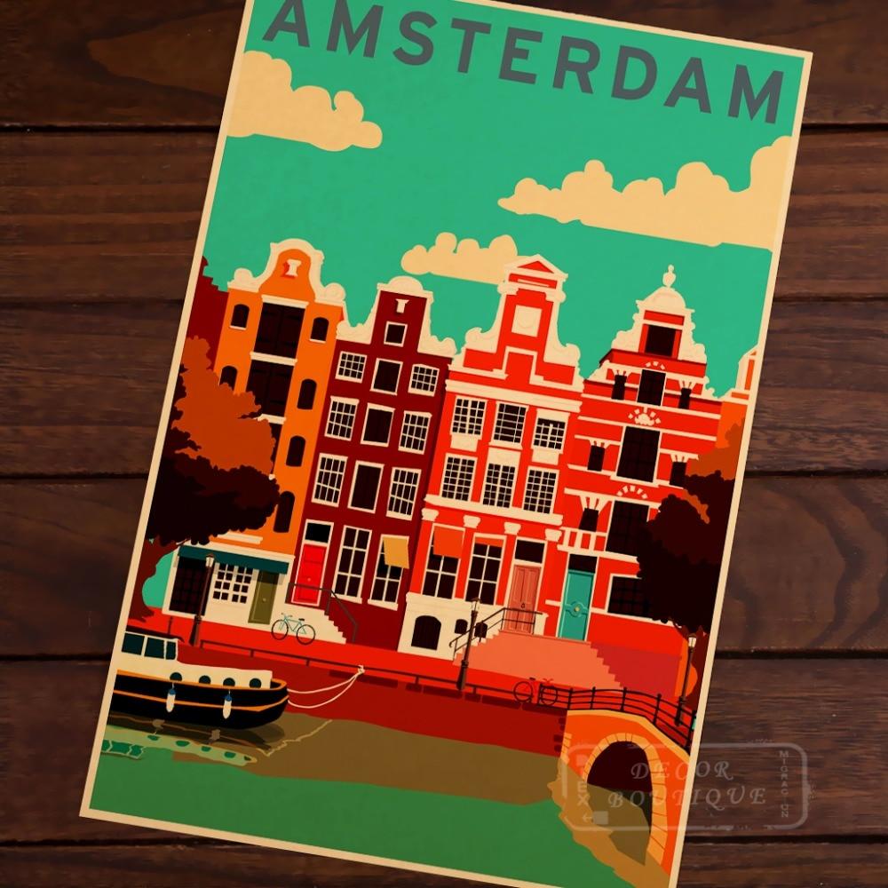 Amsterdam, Países Bajos mapa Vintage póster de viaje de mujer T/clase camisa/Camiseta tipo mujeres de suave camiseta ser amable Kraft de mapas de etiqueta de la pared de Casa carteles para Bar decoración DIY regalo