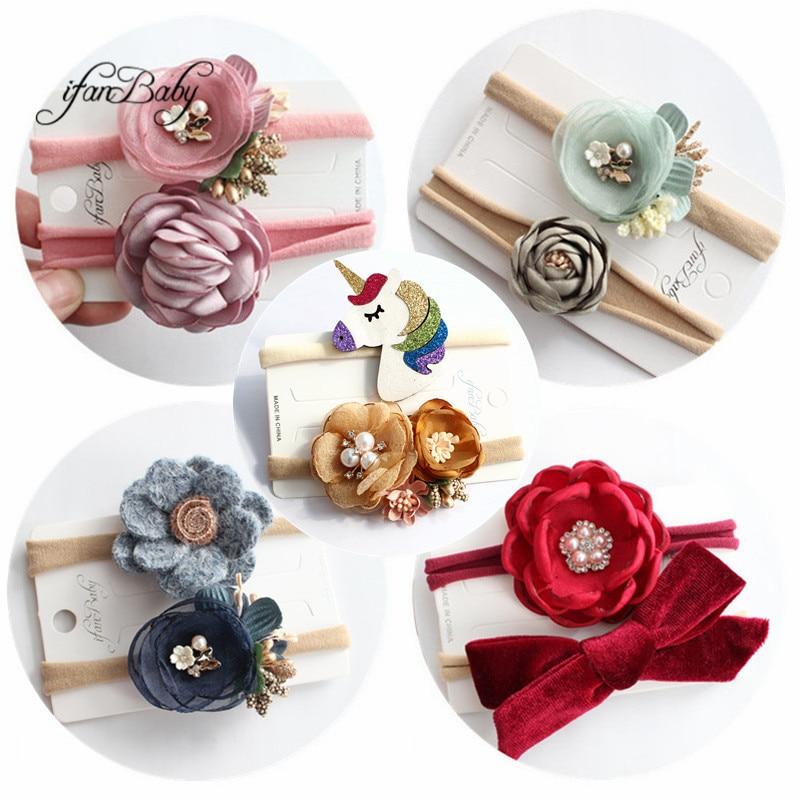 2 unids/set Sweet Unicorn bow con diamantes de imitación en la diadema elástica niños niñas suave flor Nylon diademas floral diadema