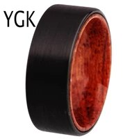 mens wedding jewelry ring for women matte black pipe with wood tungsten ring bridegroom wedding engagement anniversary ring