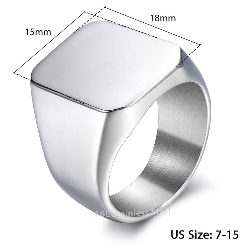 Classic Men's Ring Smooth 316L Stainless Steel Rings Black Gold Silver Color Wholesale Dropshipping Jewelry Gifts for Men HRM76
