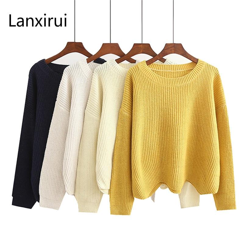 Autumn Loose Thin Sweater Women Wave Hem O Neck Long Sleeve Knitting Sweater Female Pullover Knitwear 66204
