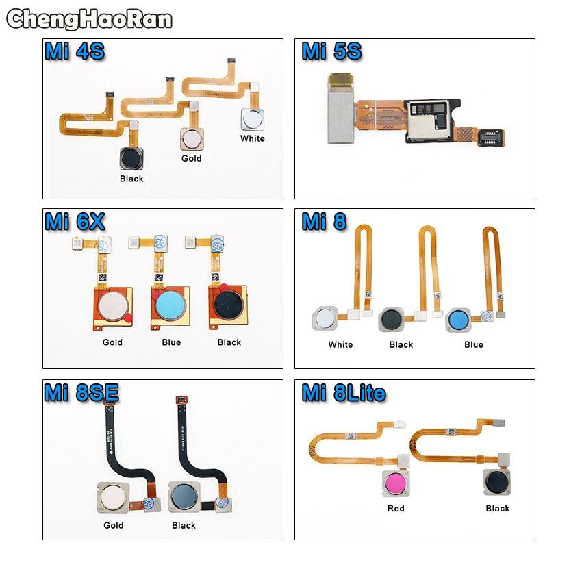 ChengHaoRan For Xiaomi Mi 4S 5S 6X 8 Lite 8SE Mi4s Fingerprint Sensor Scanner Touch ID Home Button Return Flex Cable Spare Parts