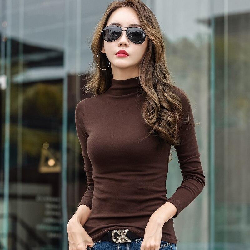 2018 nuevas camisetas de manga larga de algodón de Invierno para mujer, Tops de cuello alto, camiseta con fondo básico, camisetas casuales femeninas de talla grande