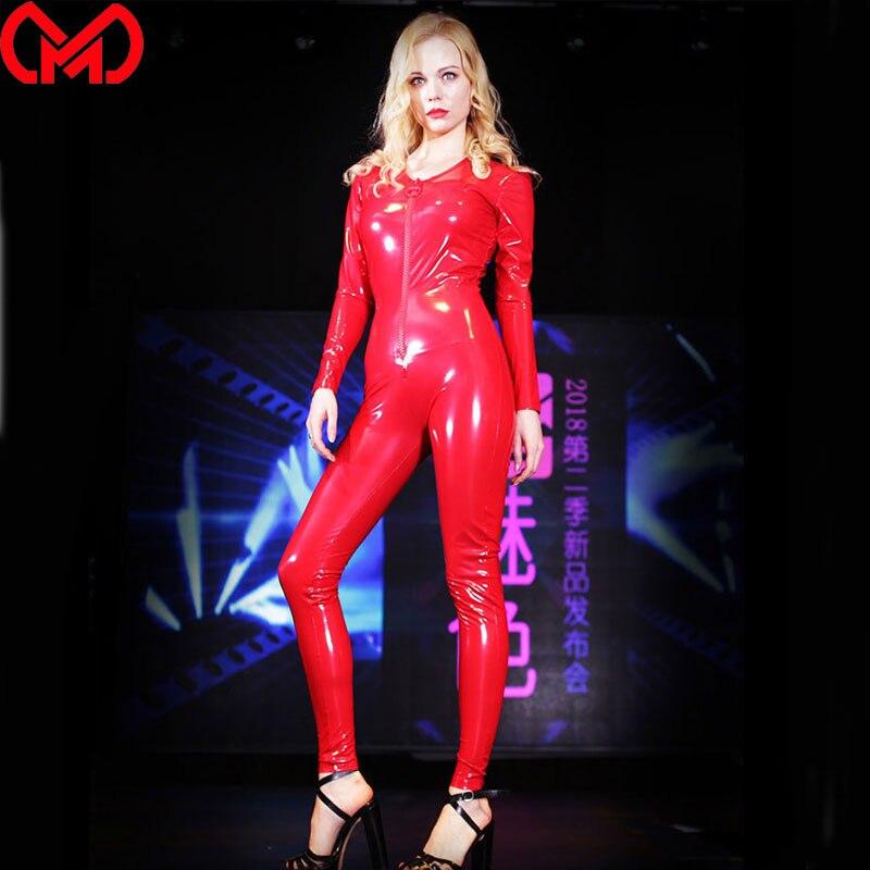 Женское боди из искусственной кожи MEISE, блестящие латексные колготки с глубоким v-образным вырезом, облегающие комбинезоны, одежда для байке...