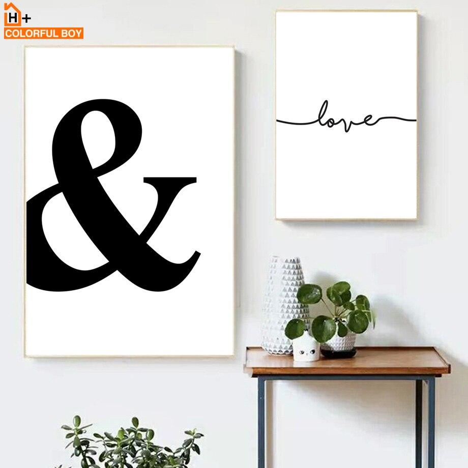 Frases románticas cuadro sobre lienzo para pared, carteles nórdicos e impresiones en negro y blanco, cuadros de pared minimalistas para decoración del hogar y la sala de estar