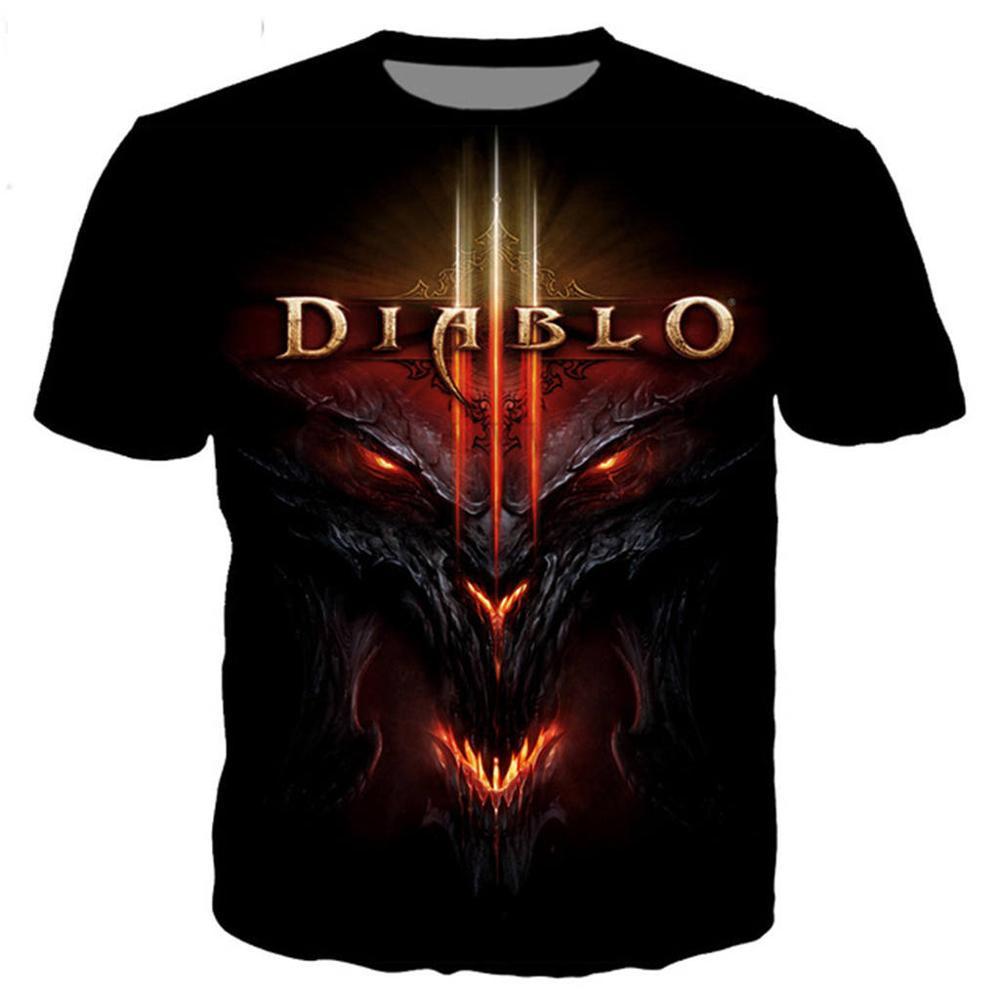 Nueva camiseta clásica de Diablo 3 Reaper of Soul para hombres y mujeres, camiseta estampada en 3D, camiseta de moda novedosa, ropa informal estilo hip hop, tops casuales de verano