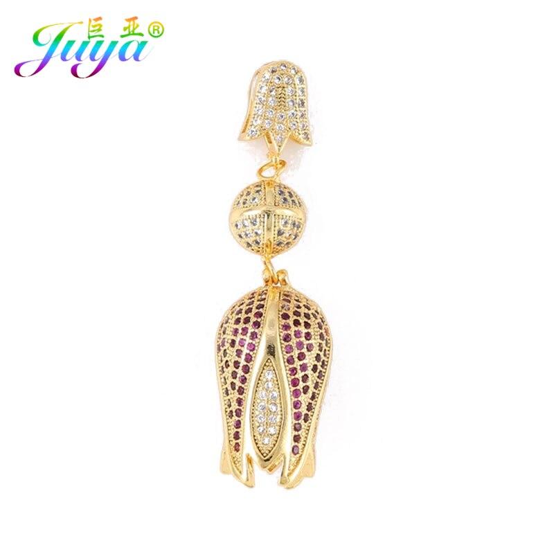 Кулоны Juya для женщин с микро циркониевым цветком и тюльпанами, Подвески для изготовления ювелирных изделий из натурального камня и жемчуга