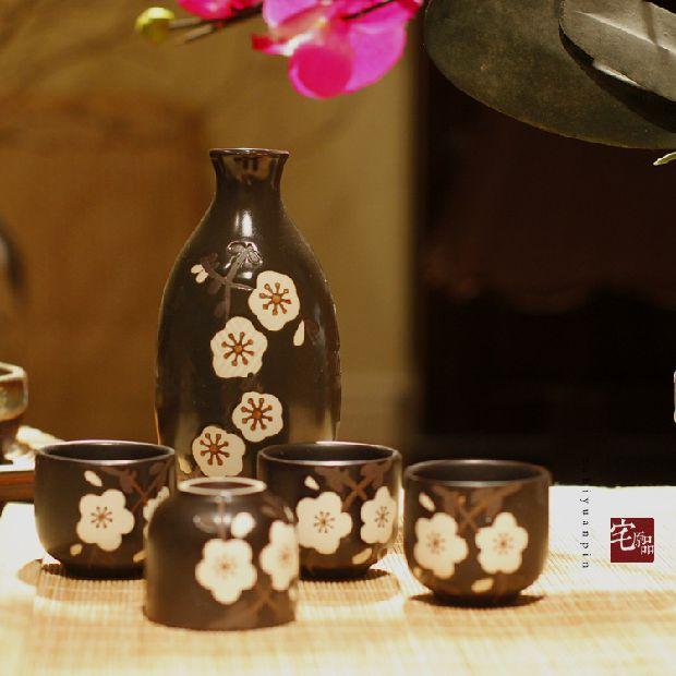 Set de vino de sake japonés de vidrio transparente de cerámica de exportación de calidad Ribenyuandan Qing flagon