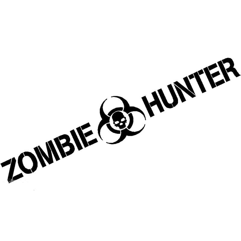 Calcomanía de cazador zombi de 19,5*3,5 CM, pegatina de respuesta del brote del Apocalipsis para equipo de coche, decoración de coche con estilo, C8-0339 negro/plateado