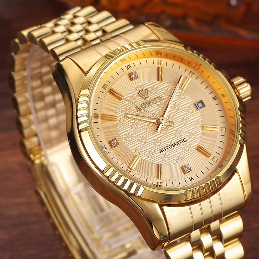 فاخر الذهب موضة رجالي ساعات عادية كريستال الهاتفي تاريخ التلقائي الميكانيكية الفولاذ المقاوم للصدأ الرياضة ساعات المعصم للرجال هدايا