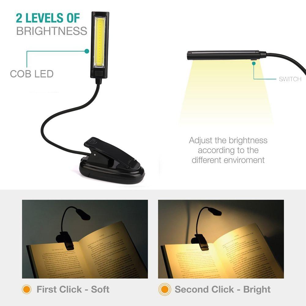 Soporte de Clip de alimentación USB Luz LED de libro lámpara de escritorio 1W Lámpara de lectura de cama Flexible lámpara de mesa para la sala de estudio #20