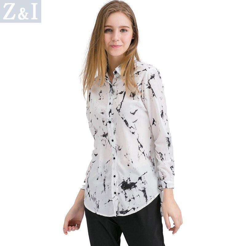 Otoño 2018 nuevo agua y tinta diseño solapa manga larga gasa botón Arriba suelta Casual Tops Oficina señoras blusa