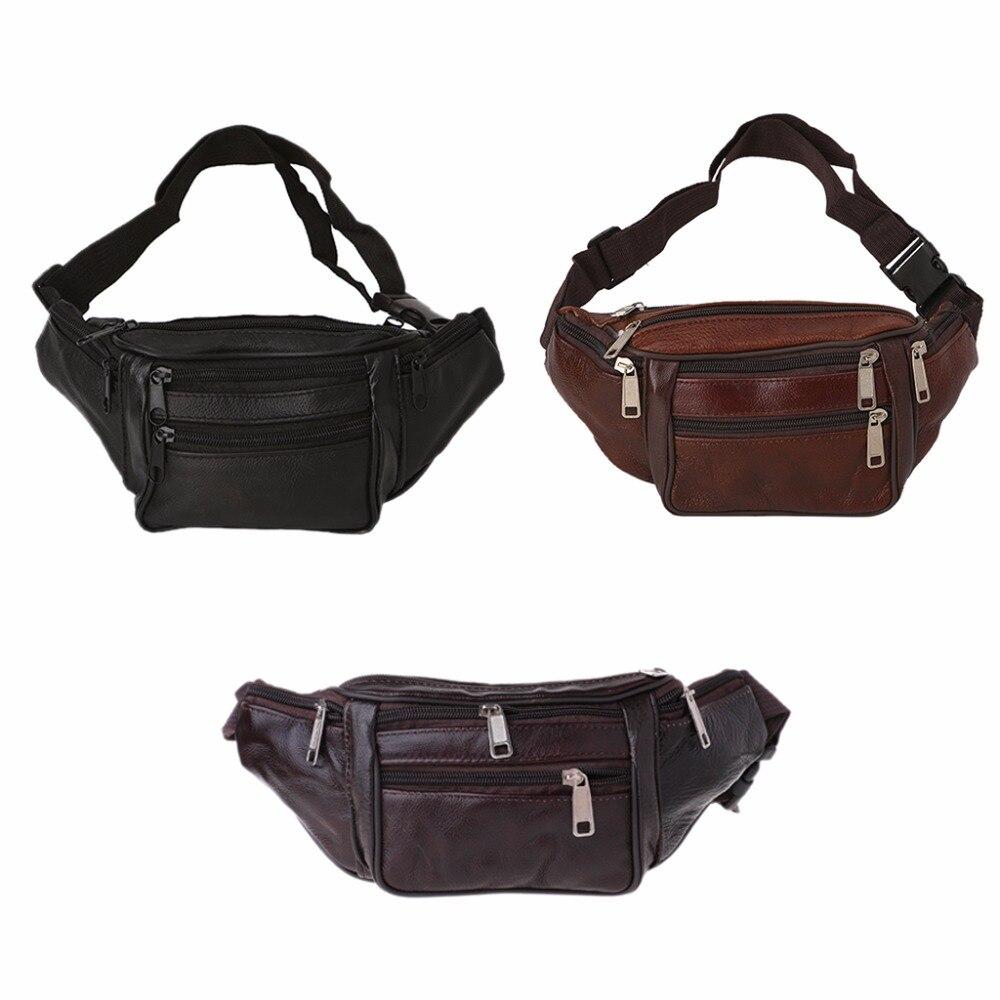 Thinkthendo homens mulheres cintura de couro fanny pacote cinto bolsa de viagem hip bolsa nova moda macio sólido zip unisex sacos