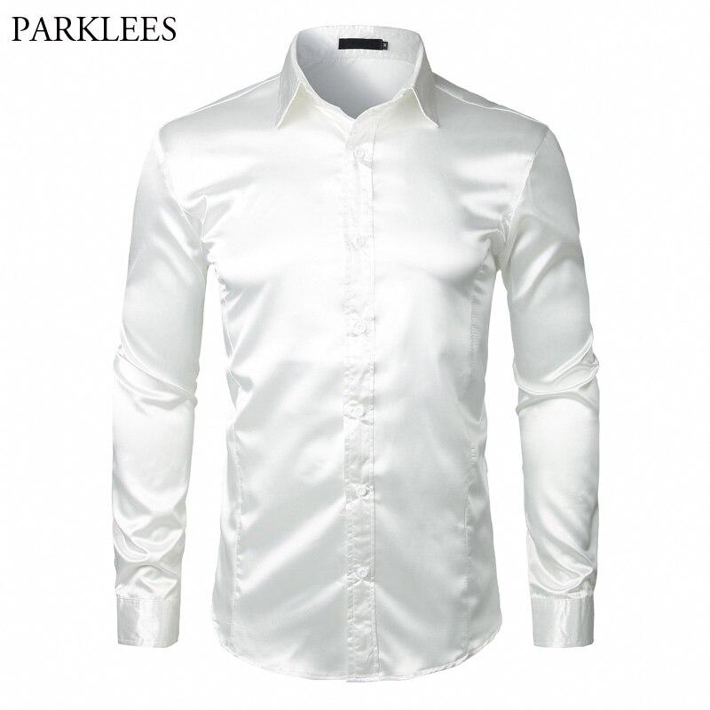 Stilvolle Weiß Silk Satin Hemd Männer Chemise Homme 2018 Casual Langarm Slim Fit Mens Dress Shirts Business Hochzeit Männlichen hemd