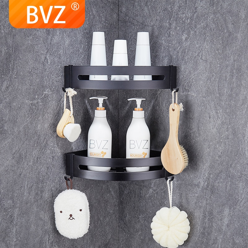 BVZ-رف حمام من الألومنيوم الأسود ، ملحق ، مساحة ، سلة دش ، تخزين مطبخ ، حامل شامبو