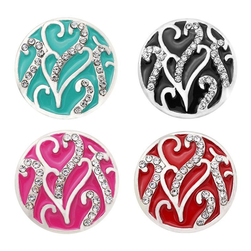Nuevo KZ2075 belleza colorido encantador corazones de diamantes de imitación 18mm botones de cierre de ajuste DIY pulsera, venta al por mayor regalo de 6 colores