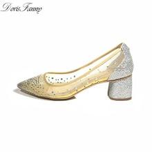 Argent femmes chaussures bureau dame 2017 paillettes voir à travers bout pointu moyen bas talon épais femmes pompes chaussures Dorisfanny