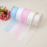 new transparent hollow ribbon webbing 3 8cm 20 yards wedding snow textile belt diy hair accessories clothing decoration
