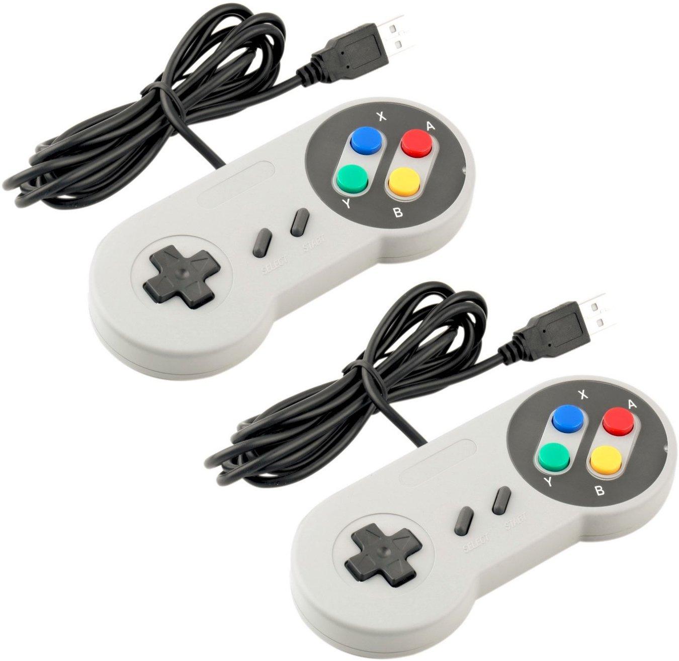 Súper juego controlador SNES USB Classic Gamepad [paquete de 2] para juegos PC MAC para Win98/ME/2000/2003/XP/Vista/Windows7/8/ Mac os
