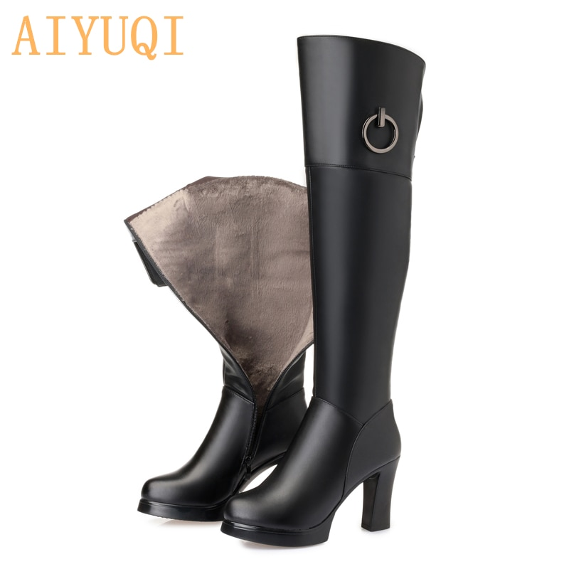AIYUQI Thigh high boots women 2021 new genuine leather women winter boots fashion over knee thigh hi