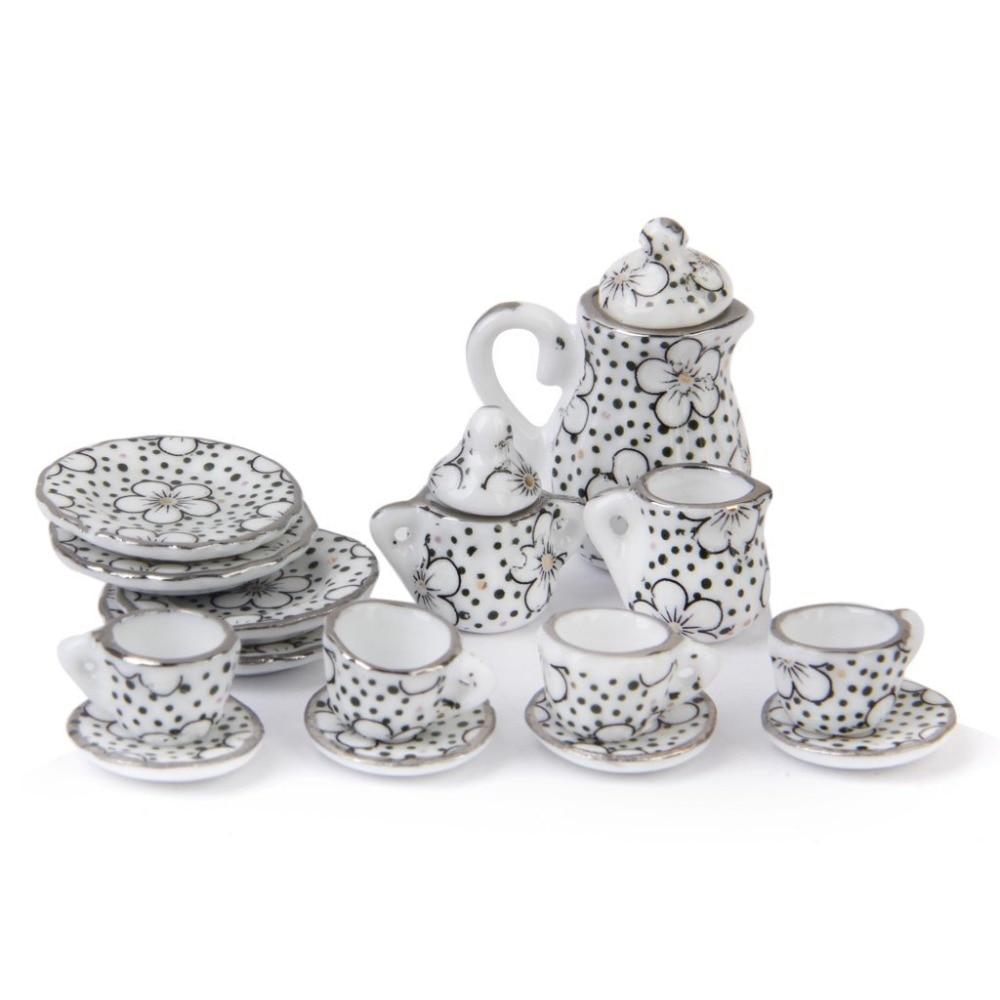 15Pcs Porzellan Tee-Set Essen Utensilien Daisy Muster für Puppe Haus Kinder Klassische Pretend Spielen Spielzeug