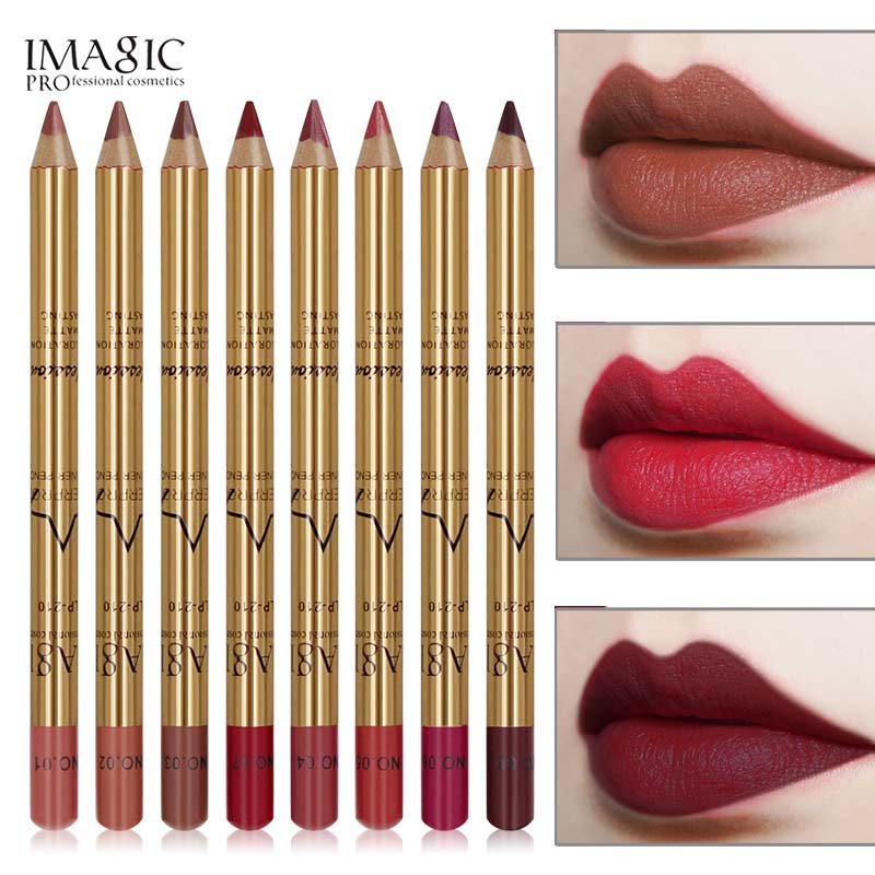 New 8 Colors Professional Lipliner Pencil Long Lasting Waterproof Lip Eye Brow Multi-functional Cosmetic Makeup Lip Liner Pens