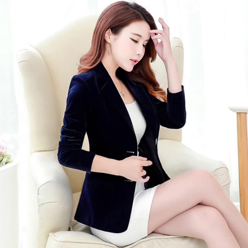 Chaqueta de terciopelo dorado para mujer 2019 primavera nuevo traje de terciopelo de manga larga wome chaquetas coreanas ropa exterior femenina