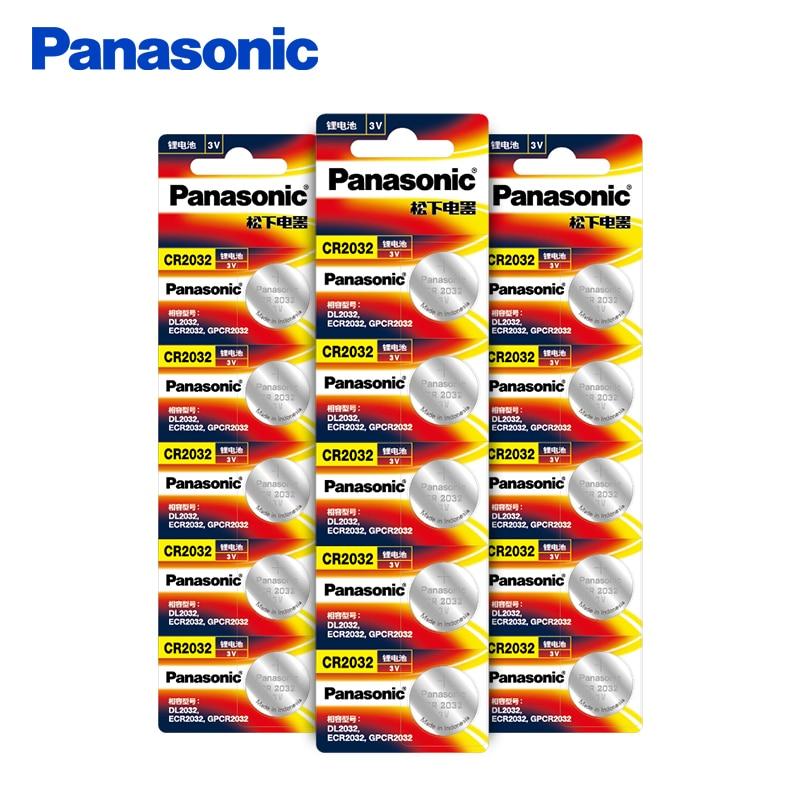 Panasonic 15 шт./лот CR2032 кнопка батареи 20 мм * 3,2 мм 3 В литиевая Кнопка монета батареи для часов компьютера CR 2032