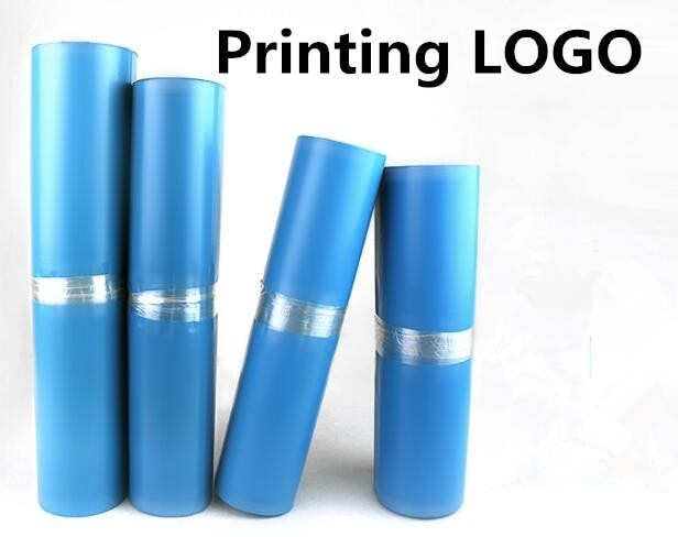 500 Uds. Bolsa de correo con impresión de LOGO Poly Mailer sobre azul bolsa de mensajería Express bolsa de embalaje de almacenamiento